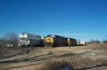 CSX 123 now leading 746 has shoved the high wide loads into the West Point woodyard where they will remain until unloaded