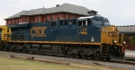 CSX 726 passes the station with a northbound train
