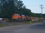BNSF Gevos leading a west bound coal train through Goshen.