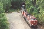 Eastbound manifest rolls through tunnel
