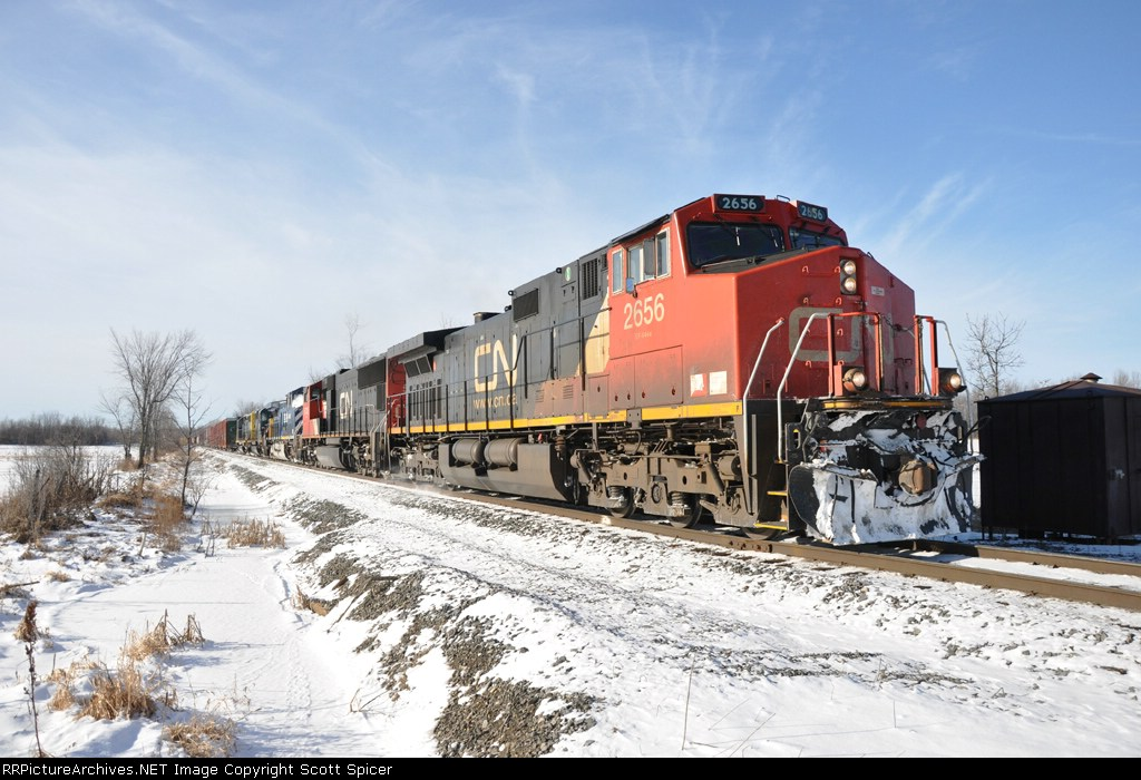 B798 heads North to Huntindon, with a dead BCOL 4647 on the way to CN to be shopped