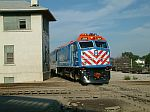 Metra 201 pulls in with a full commuter train