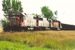 Ballast train waits in siding