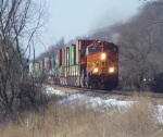BNSF 4111 Brings a Doublestack Train Out of Town