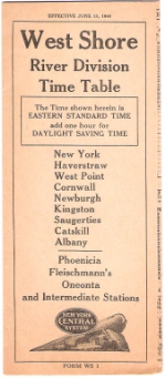New York Central West Shore (River Division) Time Table 1948