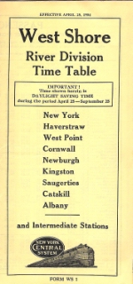 New York Central West Shore (River Division) Time Table 1954