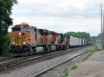 090718062 Eastbound BNSF freight approaching North La Crosse Yard on St. Croix Sub.