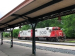 090718082 SOO Line matched GP38-2 set serves as the local yard switcher passing the Amtrak station
