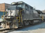 NS 3553 in the lead - downtown Lynchburg at the foot of Ninth Street