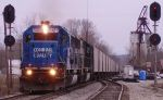 Nice looking Conrail SD50 leads grain train west