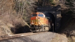 BNSF 4492 blasting out of a tunnel