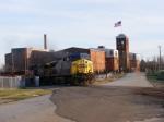 CSX 385 leads an empty rock train past Kings Mill towards Dan