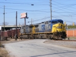 CSX 385 leads a loaded Herzog rock train into Augusta Yard