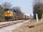 CSX 856 leads a loaded coal train out of Augusta