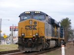 CSX 878 on the lead of a loaded coal train waiting for at meet