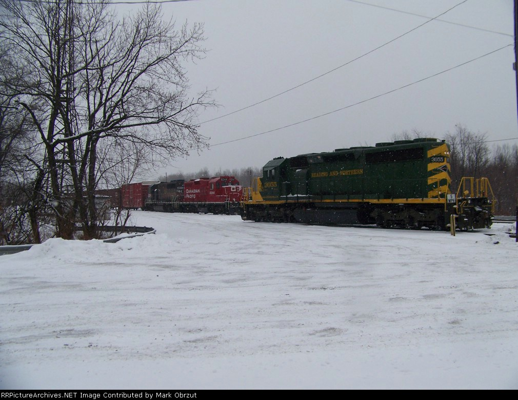 Reading and Northern 3055 and Canadian Pacific 8244 and 4650