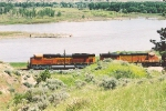 Westbound empties along the Yellowstone River