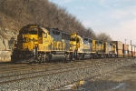 Four Bluebonnets lead westbound stack train
