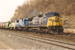 Eastbound grain train behind eastern power
