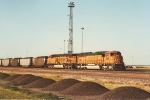 Loaded coal train waits in yard