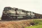 Loaded coal train waits for crew