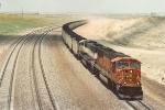Loaded coal train slogs up Logan Hill