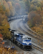 x Conrail 80MAC leading an eastbound coal drag.