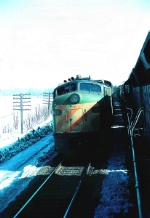Passin a passenger train