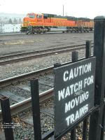 CAUTION WATCH FOR MOVING TRAINS
