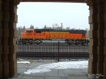 BNSF 8240 through the walkway at the old NP depot