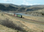 BNSF 9288 in canyon along Yellowstone River