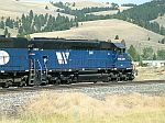 MRL 346 waits to push a train over the mountain