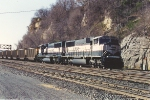 Loaded coal train passes through Hoffman