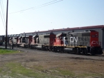 CN line of trains at Johnson Yard