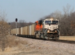 BNSF 9781 high balling south with the black diamonds in tow