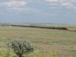 BNSF 9345 & 9304 work eastward as DPU's across the wideopen northeastern Wyoming landscape