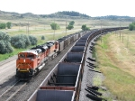 BNSF 9159 leads its' coal loads east up the second siding
