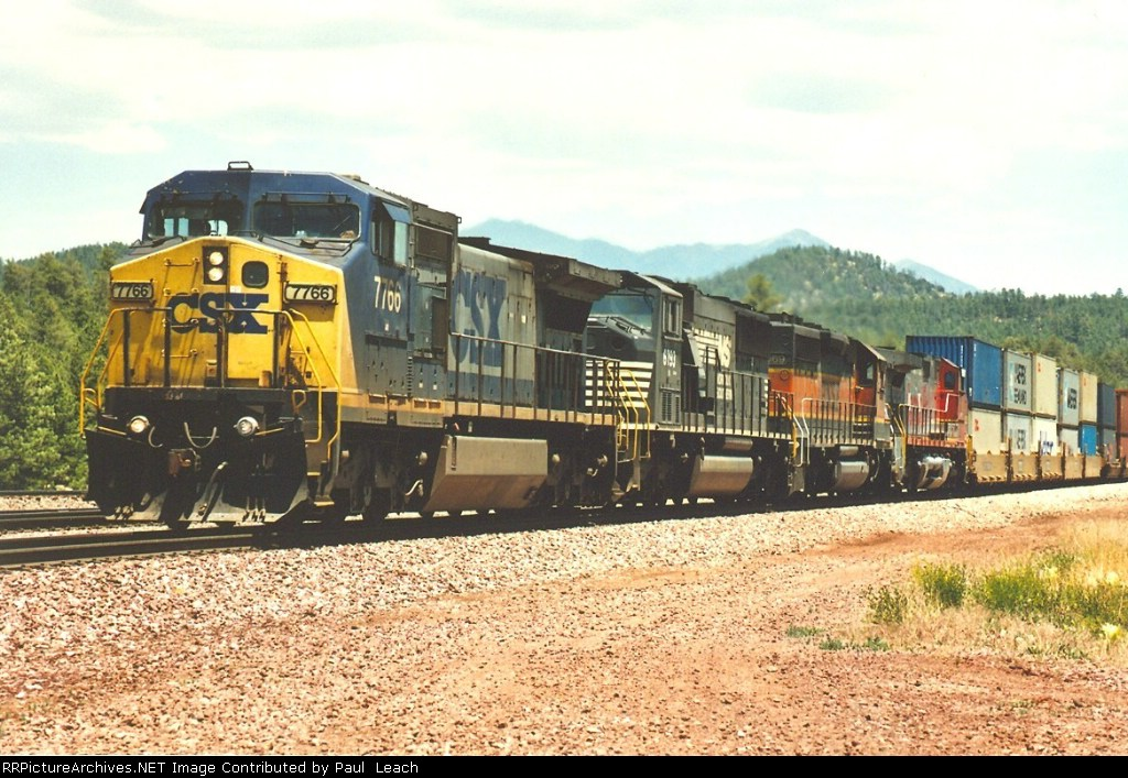 Westbound stack train with eastern leader