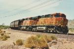 Eastbound grain train heads downgrade