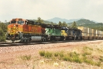 Westbound stack train with colorful power lashup