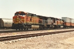 Westbound stack train slows for crew change