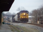 CSX 77 leads Q502 north at the L&N Depot 3/7/09