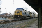 CSX 7868/CSX 8635 lead Q201 south by the L&N Depot 7:33am 3/7/09