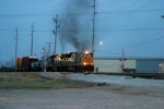 Q275-07 crosses Dishman Lane and arrives at Memphis Jct. Yard behind CSX 4802/7594 puffing smoke 3/7/09