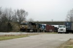 Norfolk Southern 2622 backs Q275-08 into the yard to drop the former Conrail unit 3/7/09