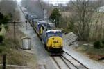 CSX 4538 leads Q574 north at SE Gossom siding near Sunnyside KY 4:21pm 3/15/09