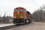 BNSF 4791 follows BNSF 519 back to Jeff siding with its rock train