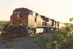 Eastbound grain train prepares to enter yard