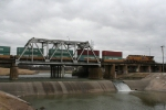UP_7686 is a DPU on a stack train on the Trinity River Bridge departing Davidson Yard.