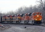BNSF 9254 leads a empty north bound coal drag with 3 other ACe sisters